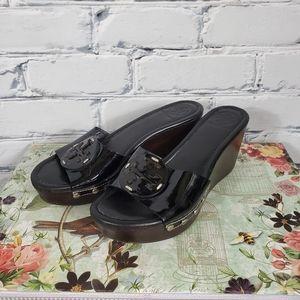 Tory Burch Patti Black Patent Wedge Sandals